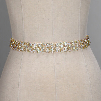 Bridal Sash Wedding Dress Belt Rhinestone Waistband Beaded Satin Ribbon Gold