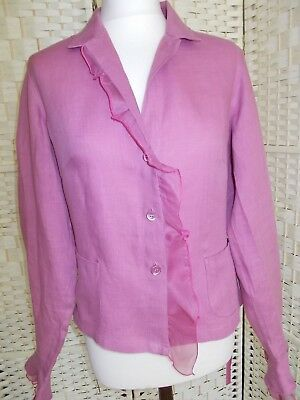 Ladies size 12/14(44) rose pink linen jacket with silk lace trim by Tara Jarmon.