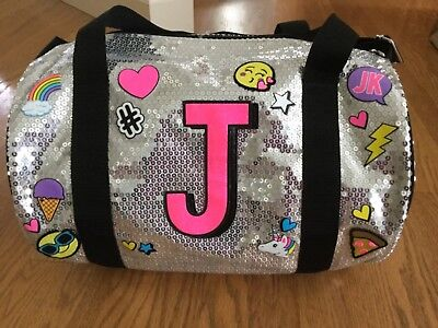 NWT girl Justice Emoji Sequin Duffle sports gym bag backpack purse initial J NEW