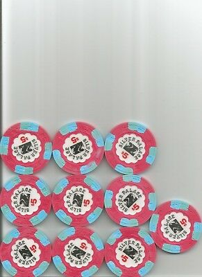 (10) $5 silver palace obsolete casino chips cripple creek colorado lot
