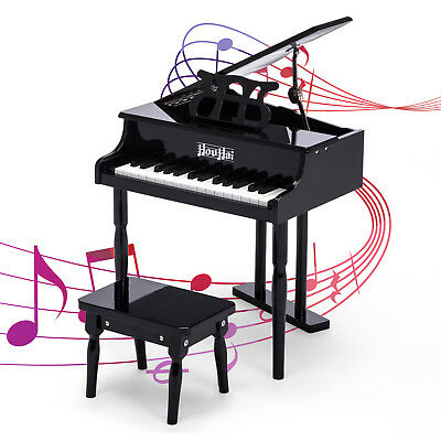 Childs Grand Baby Piano 30 Keys With Kids Bench Of Solid Wood Construction  Black