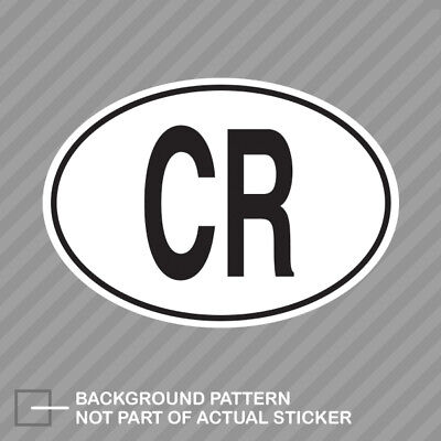 Cr Costa Rica Country Code Oval Sticker Decal Vinyl Rican Euro