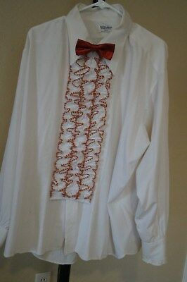 VINTAGE Tuxedo Shirt by L & M Fashions XXL3 off white Red ruffles & Red bow tie