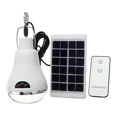 6V 1W Portable Solar Panel Powered LED Light Lamp Bulb Remote Control Outdoor Ca