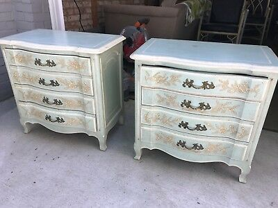 Pair John Widdicombe French Country Ornately Painted Nightstands