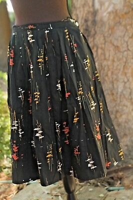 1950s circle skirt black with abstract  pattern