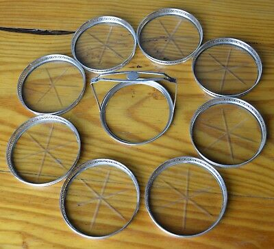 Vintage Sterling Silver Webster Coasters Cut Glass Set of 8 with Carrying Tray