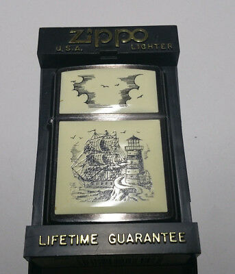 Zippo Lighter Scrimshaw Ship Vintage Lighthouse with Hard Case Display Stand NEW