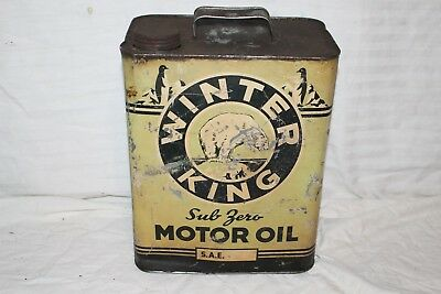 Rare Vintage Winter King Motor Oil 2 Gallon Metal Can Gas Station Sign
