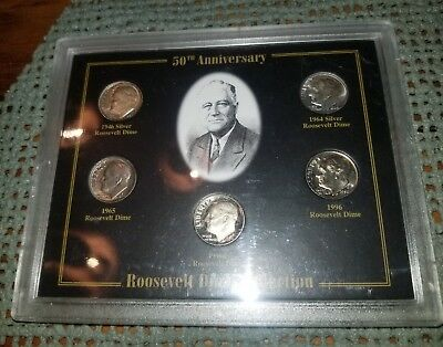 SPECIAL 50th Anniversary Roosevelt Dime Collection 5 Dimes PROOF 2 SILVER COINS!