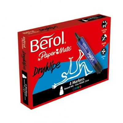 Berol Drywipe 4 Markers Round Nib 2mm Assorted Colours S0377350