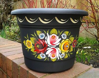 Canalware Canal Art barge ware Narrowboat handpainted black plastic planter pot