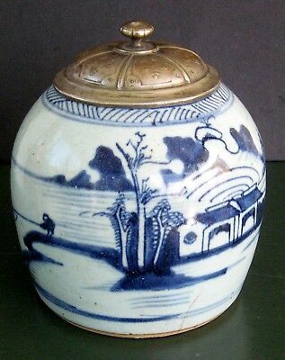 antique 17th / 18th c. chinese porcelain jar minyao ware blue white vase urn