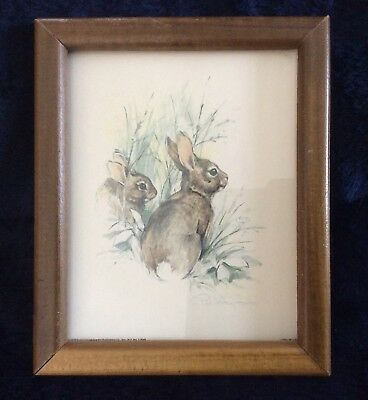 """Vintage Bunny Rabbits Framed Water Color Paul Whitney Hunter  5.75"""" X 4.75"""""""