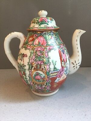 Antique Chinese Hand Painted Gilded Famille Rose Figural Pottery Teapot Marked