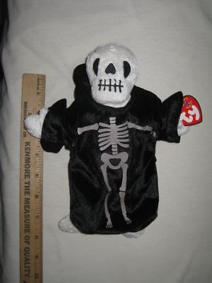 "8"" TY Beanie Babies Bean-bag CREEPERS Halloween Skeleton With Tags 2000"
