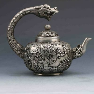 Tibet silver hand-carved dragons W qianlong the teapot From the collection