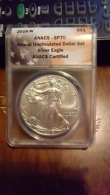 2016 W Burnished Silver Eagle ANACS SP70 From Annual Uncirculated Dollar Set New