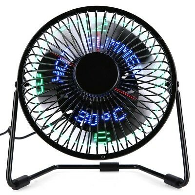 Desktop Portable Multifunctional LED Metal USB Rechargeable Clock Fan