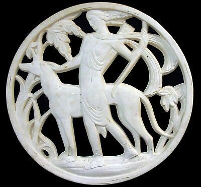 Huge Vintage Art Deco Diana Goddess & Greyhound Dog Plaster Relief Wall Plaque