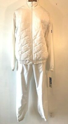 Vintage 1990s Reebok White Sweat Pants Quilted Jacket Track Suit size L NWT P12