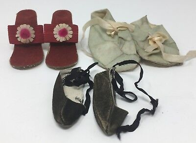 Vintage Lot Of 3 Pairs Assorted Doll Shoes