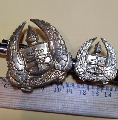 2 Gold Plated Unidentified Metal Military Gymnasium Badges Defence Navy? Anchor