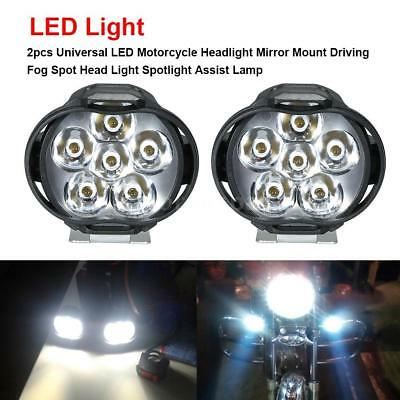 2pcs Universal LED Motorcycle Headlight Driving Spot Fog Head Light Lamps N5A3