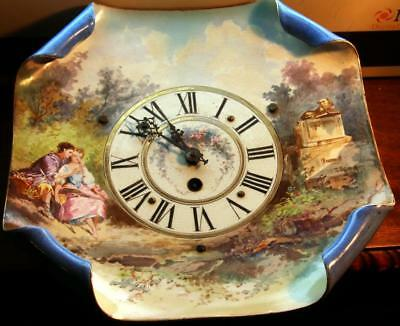 C56. Vintage Porcelain 8 Day Plate Clock With Cupped Corners, Fabulous Colors