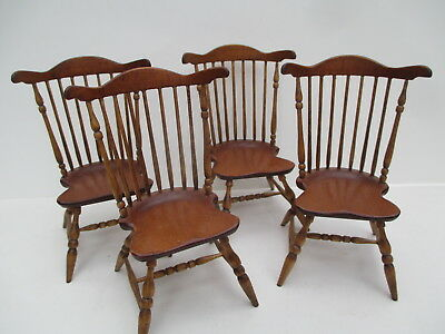 Dollhouse Miniatures ~ Set of 4 Fan Back Windsor Oldham Studio Chairs ~ 1991