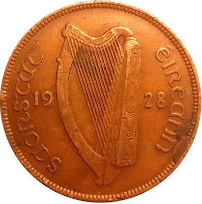 1928 Ireland / Eire One Penny Coin Good Grade  #Bj4