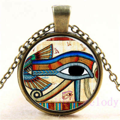 Vintage Cabochon Glass Necklace bronze charm chain pendants:Eye of Horus,651
