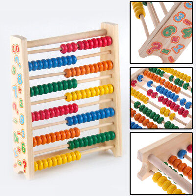 20cm Wooden Bead Abacus Counting Frame Childrens Kids Educational Maths Toys UK