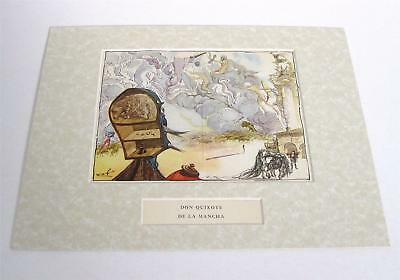 Salvador Dali vintage 72 years old Don Quixote rarely seen horse art matted