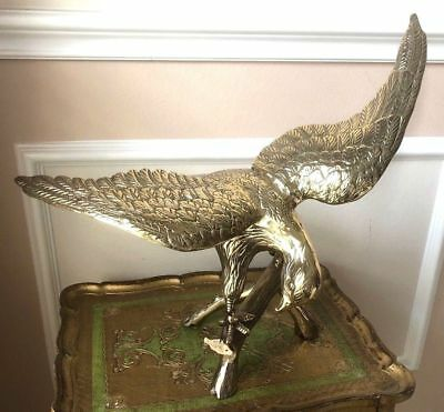 American Brass Handmade Eagle Statue On Branch Home Office Decoration Gift 20.5""