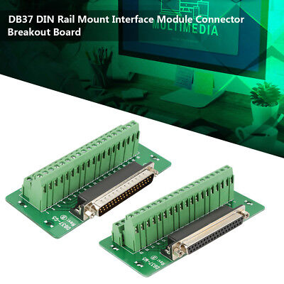 DB37 DIN Rail Mount Interface Module M / F Terminal Connector Breakout Board ZY