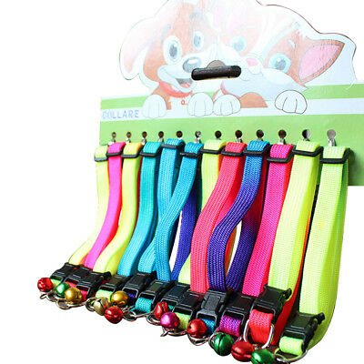 12pcs/Lot Pet Dog Puppy Cat Kitten Adjustable Collar Safety Buckle With Bell