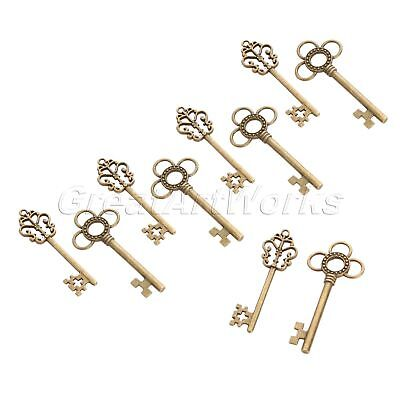 Antique Bronze Skeleton Key Charms Pendant Findings Gift Jewelry Making 10pcs
