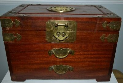 Vintage Large Chinese Asian Rosewood Multi-drawer Jewelry/Storage Box