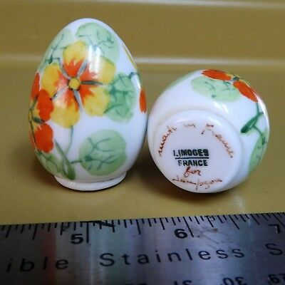 Antique Limoges France Egg Salt and Pepper Shakers - Hand Painted