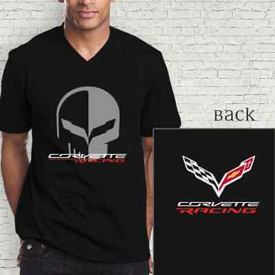 Chevrolet Corvette Racing Jake Skull Mens V-Neck Shirt