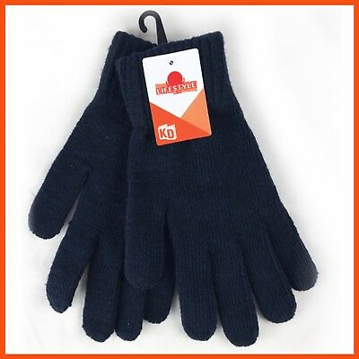 12 x KIDS WOOL BLEND GLOVES 200mm | Navy Blue Outdoor Insulated Ski Winter Warm