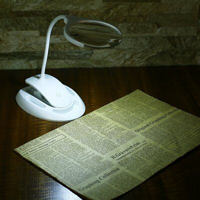NEW 6 LED LightsDesktop MagnifyingGlassClip-on Table with Base Magnifier LampEXC