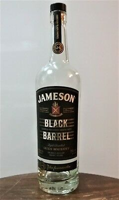 JAMESON BLACK BARREL Irish Whiskey 750ml Glass Bottle w/ Cork EMPTY & CLEAN