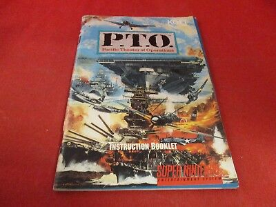 P.T.O. Pacific Theater Operations Super Nintendo SNES Instruction Manual Booklet