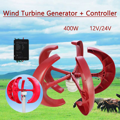 12V/24V Axis Wind Vertical Lanterns Controller VAWT Generator 400W NEW + Turbine