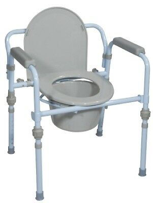 Drive Medical Deluxe Folding Commode with Commode Bucket and Splash Guard