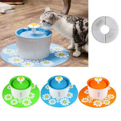Pet Cat Dog Automatic Water Drinking Flower Fountain Bowl Drink Dish Filter USA