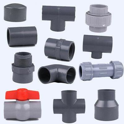 UPVC Pipe Fittings Pipe Joiner Connectors End Cap Tee Elbow Adapter 32mm / 50mm