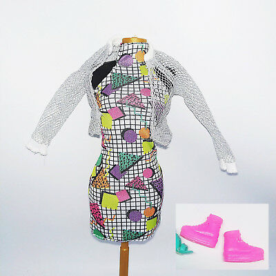 Barbie & The Rockers Keytar Doll Clothes : Halter Dress, Fishnet Jacket, Shoes